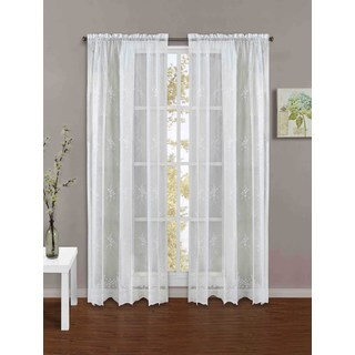 Blossom Lace 84-inch White Rod Pocket Panel