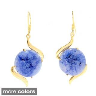 Goldtone Druzy Agate Dangle Earrings