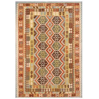 Herat Oriental Afghan Hand-woven Tribal Kilim Beige/ Light Blue Wool Rug (6'9 x 9'6)