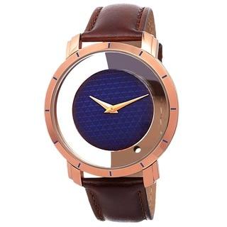Akribos XXIV Men's Swiss Quartz Retro Style Transparent Dial Leather Strap Watch