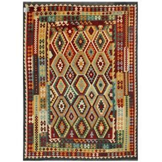 Herat Oriental Afghan Hand-woven Tribal Kilim Burgundy/ Black Wool Rug (7'11 x 11')