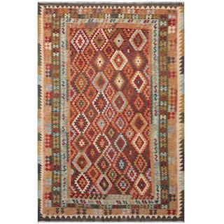 Herat Oriental Afghan Hand-woven Tribal Kilim Light Blue/ Ivory Wool Rug (7' x 10'4)