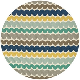 Hand-hooked Indoor/ Outdoor Capri Multi Round Rug (7'10 x 7'10)
