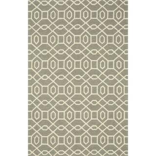 Hand-hooked Indoor/ Outdoor Capri Grey/ Ivory Rug (3'6 x 5'6)