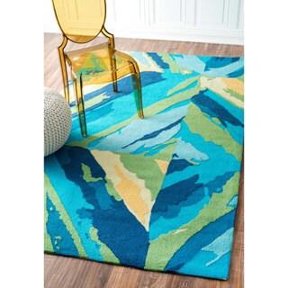 nuLOOM Handmade Modern Indoor/ Outdoor Blue Rug (7'6 x 9'6)