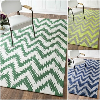 nuLOOM Handmade Chevron Wool/ Cotton Rug (7'6 x 9'6)