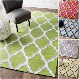 nuLOOM Handmade Modern Trellis Cotton/ Wool Rug (7'6 x 9'6)