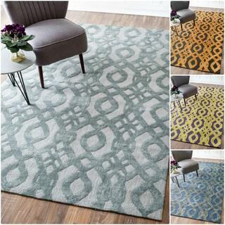 nuLOOM Handmade Elegance Trellis Wool/ Cotton Rug (7'6 x 9'6)