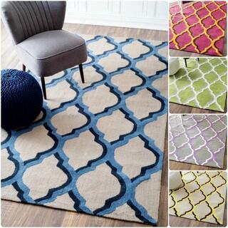nuLOOM Handmade Modern Trellis Cotton/ Wool Rug (5' x 8')