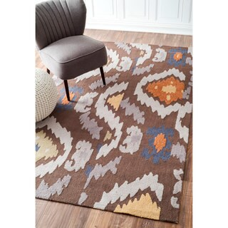 nuLOOM Handmade Modern Indoor/ Outdoor Cocoa Rug (7'6 x 9'6)