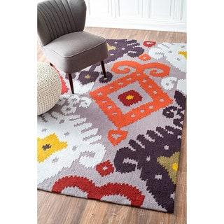 nuLOOM Handmade Modern Indoor/ Outdoor Multi Ikat Rug (5' x 8')