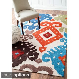 nuLOOM Handmade Modern Indoor/ Outdoor Multi Ikat Rug (7'6 x 9'6)