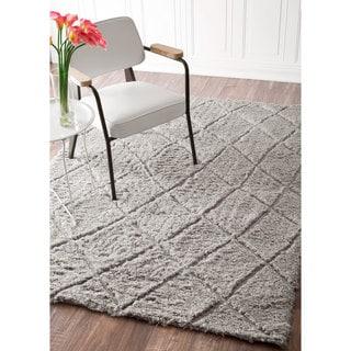 nuLOOM Handmade Moroccan Trellis Soft and Plush Wool Grey Shag Rug (8' x 10')