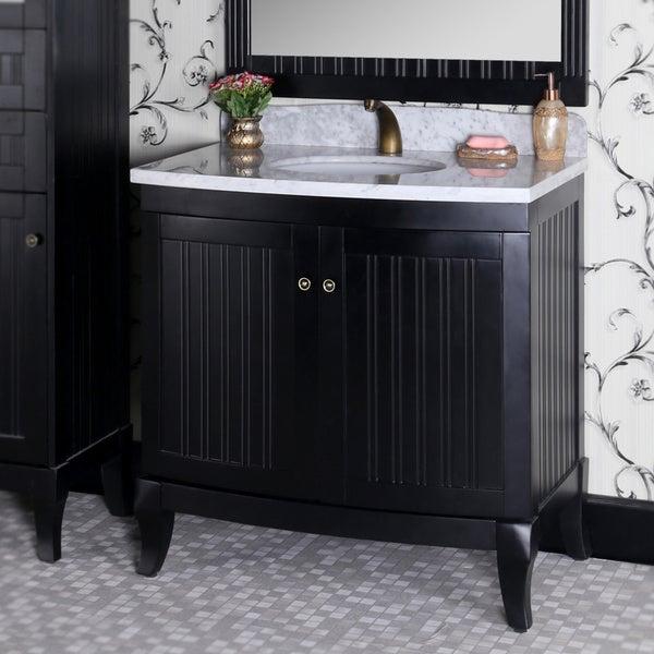 Country Style 36 Inch Carrara White Marble Top Black Single Sink Bathroom Van