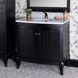 Country Style 36-inch Carrara White Marble Top Black Single Sink Bathroom Vanity with Matching Wall Mirror