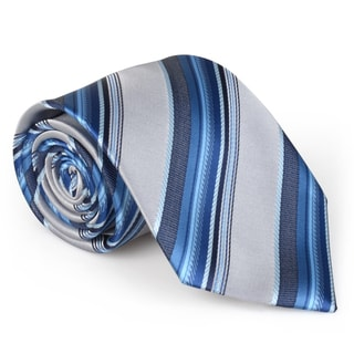 Vance Co. Men's Striped Microfiber Handmade Tie and Hanky Set