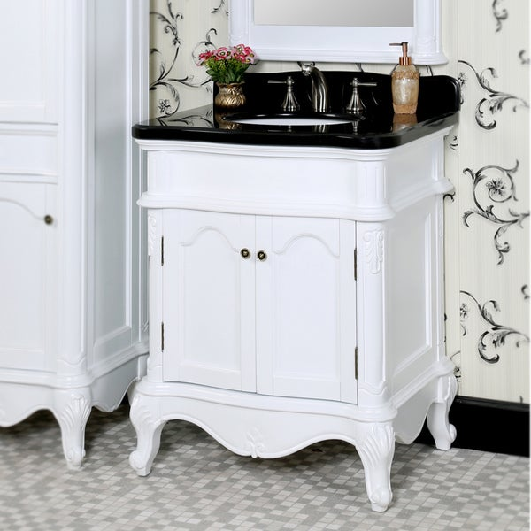 Traditional Style 30 Inch White Finish Black Granite Top Matching Wall Mirror Single Sink