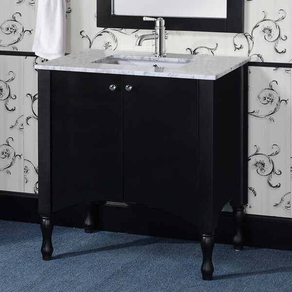 Contemporary Style 36 Inch Black Finish Carrara White Marble Top Single Sink