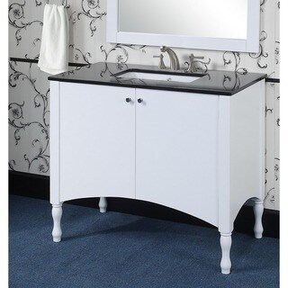 Contemporary Style 40-inch White Finish Black Granite Top Single Sink Bathroom Vanity