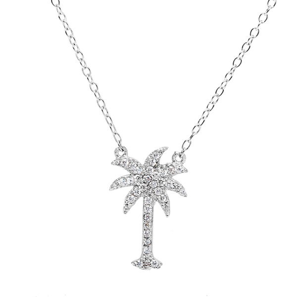 La Preciosa Sterling Silver Cubic Zirconia Micro Pave Palm Tree Necklace 14823228