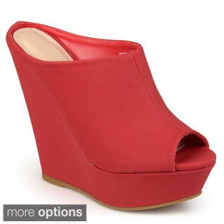 Journee Collection Women's 'Peony' Sueded Peep Toe Wedges
