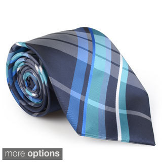 Vance Co. Men's Plaid Microfiber Handmade Tie and Hanky Set
