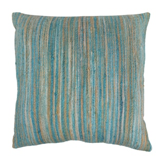 Blazing Needles 20-inch Blue/ Beige Striped Woven Yarn Pillow