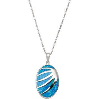 La Preciosa Sterling Silver Created Blue Opal Striped Oval Pendant