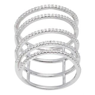 La Precisoa Sterling Silver Five-Bar Micro Pave Cubic Zirconia Ring