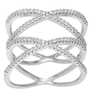 La Preciosa Sterling Silver Micro Pave Cubic Zirconia Double 'X' Ring