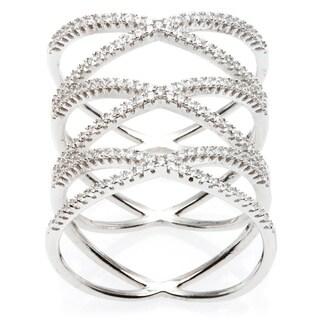 La Precisoa Sterling Silver Micro Pave Cubic Zirconia Triple 'X' Ring