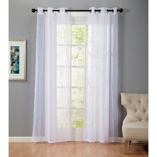 Bevery Embossed 84-Inch Grommet Top Sheer Curtain Panel Pair