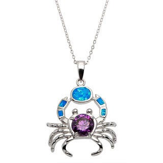 La Preciosa Sterling Silver Created Blue Opal and Amethyst CZ Crab Pendant