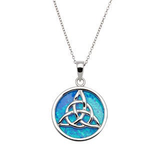La Preciosa Sterling Silver Created Blue Opal Celtic Knot Circle Pendant