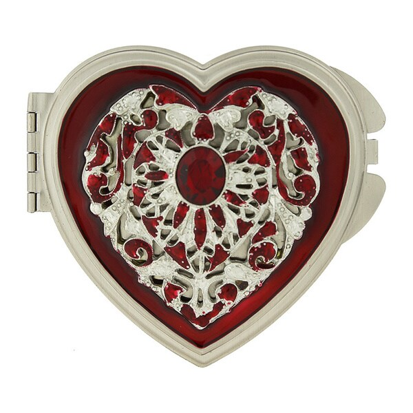 1928 Silver-toned Enamel/ Crystal Heart Mirror Compact