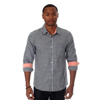 Filthy Etiquette Men's Long Gingham Plaid Slim Fit Shirt
