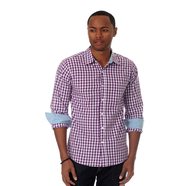 Filthy Etiquette Men's Gingham Plaid Shirt in Purple