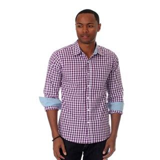 Filthy Etiquette Men's Gingham Plaid Shirt in Purple