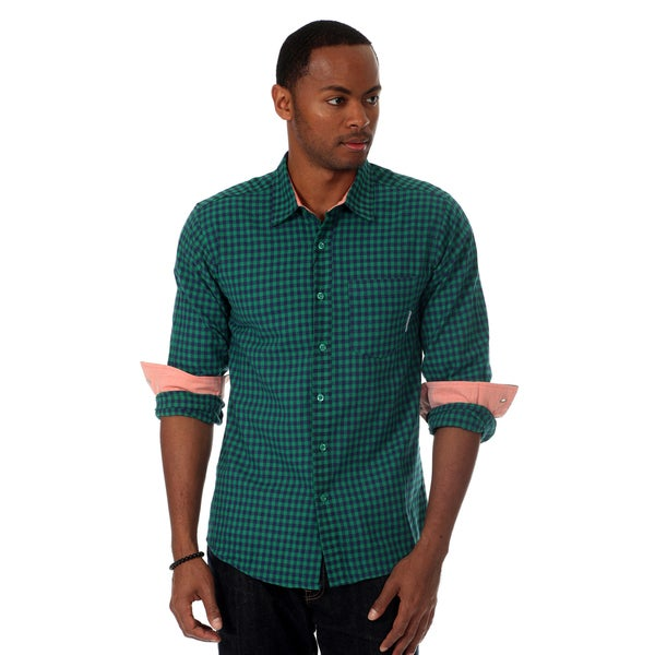 Filthy Etiquette Men's Gingham Plaid Shirt in Green
