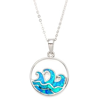 La Preciosa Sterling Silver Created Blue Opal Ocean Waves Circle Pendant