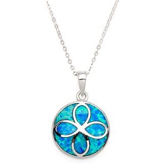 La Preciosa Sterling Silver Created Blue Opal Flower Design Circle Pendant