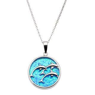 La Preciosa Sterling Silver Created Blue Opal Dolphin Family Circle Pendant