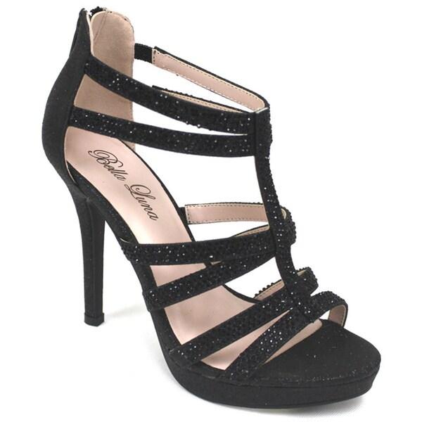 Bella Luna Adriana-07 Black Platform Heel Sandal