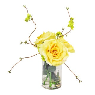 Yellow Roses with Viburnum in Acrylic Water Filled Glass Vase