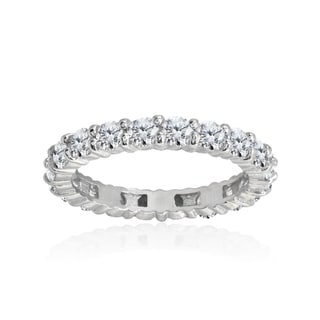 ICZ Stonez Sterling Silver 100 Facets Cubic Zirconia Eternity Ring