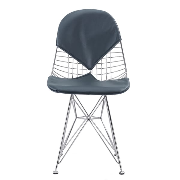 Otto Chair in Navy Blue Italian Leather (Set of 2)