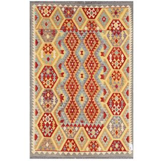 Herat Oriental Afghan Hand-woven Tribal Kilim Light Blue/ Ivory Wool Rug (5'6 x 8')