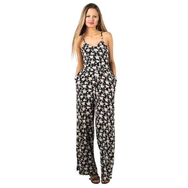 Women's Floral Lace Back Dazed Jumpsuit