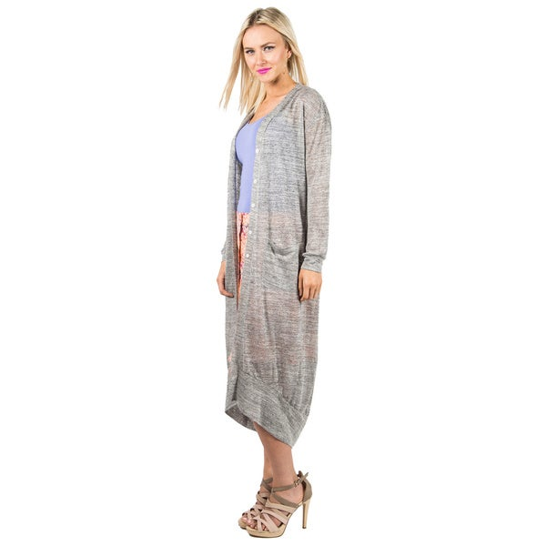 Women's Heathered Maxi Cardigan