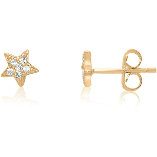 Sterling Silver Clear Cubic Zirconia Star Stud